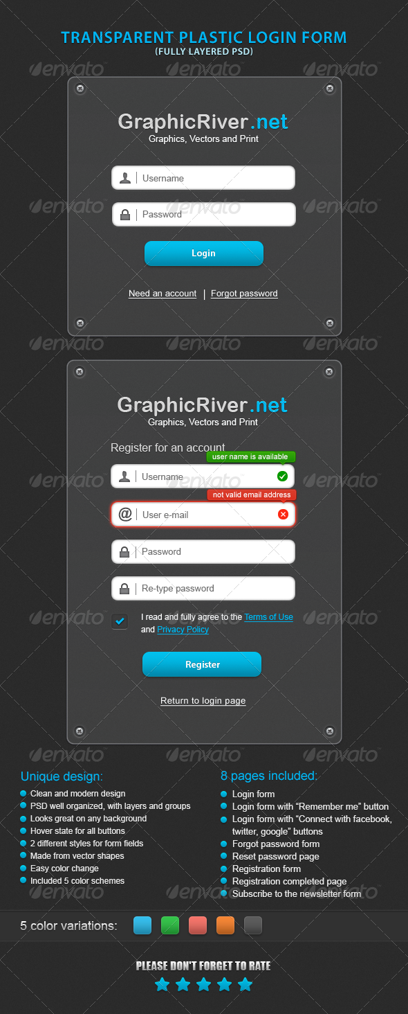 GraphicRiver Transparent Plastic Login Form 3464103