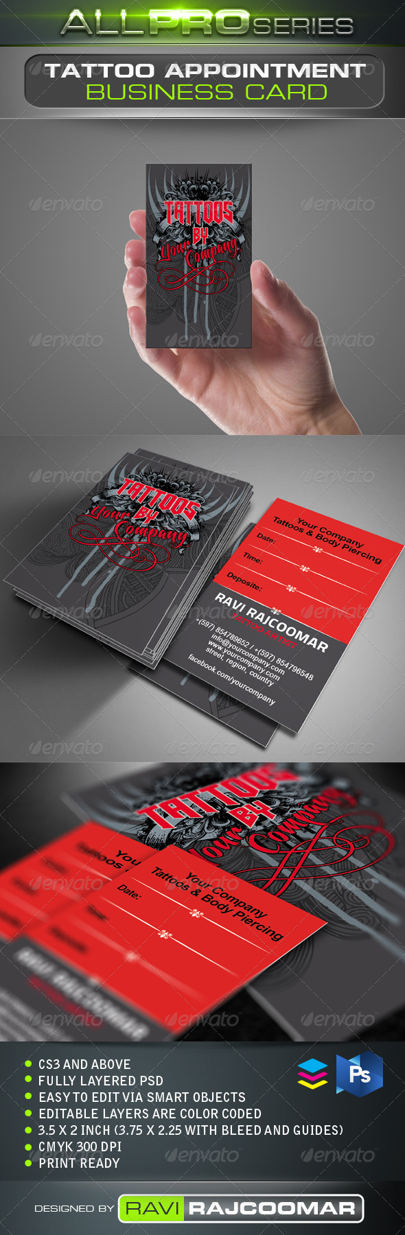 GraphicRiver Tattoo Business Card 3464382
