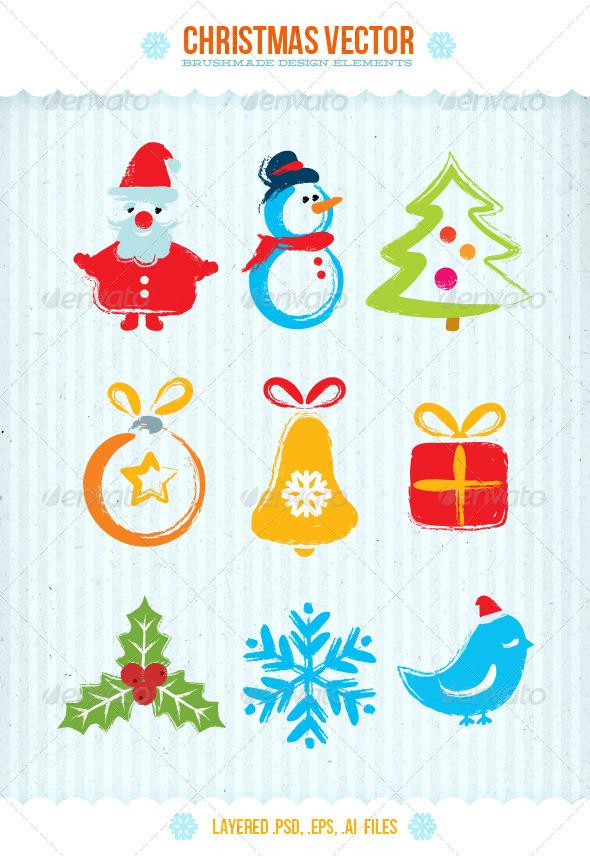 Christmas Vector Brushmade Design Elements - Christmas Seasons/Holidays
