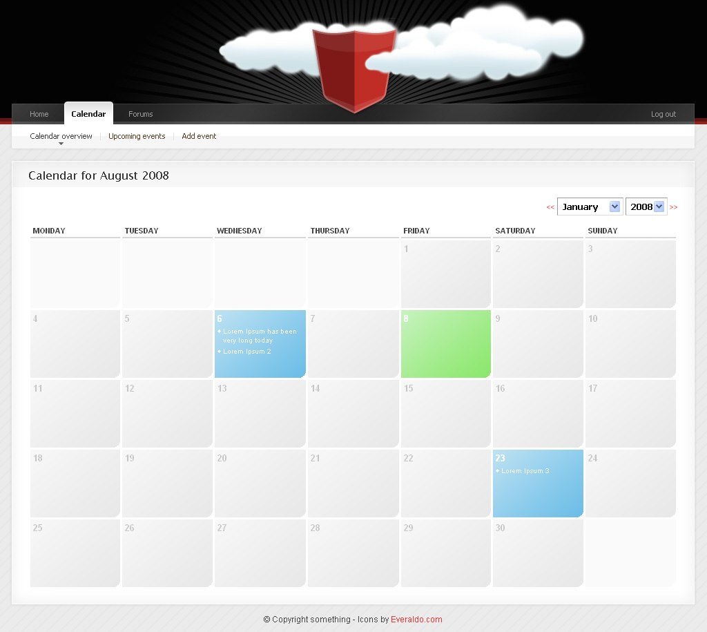 "Community Templace Advanced - 2_Calendar -------------------------------------------- Event calendar design. Diffrent styles for dates were a event is found. Hovertext ""add event"" link is hidden on no hover. Dropdowns for year and month."