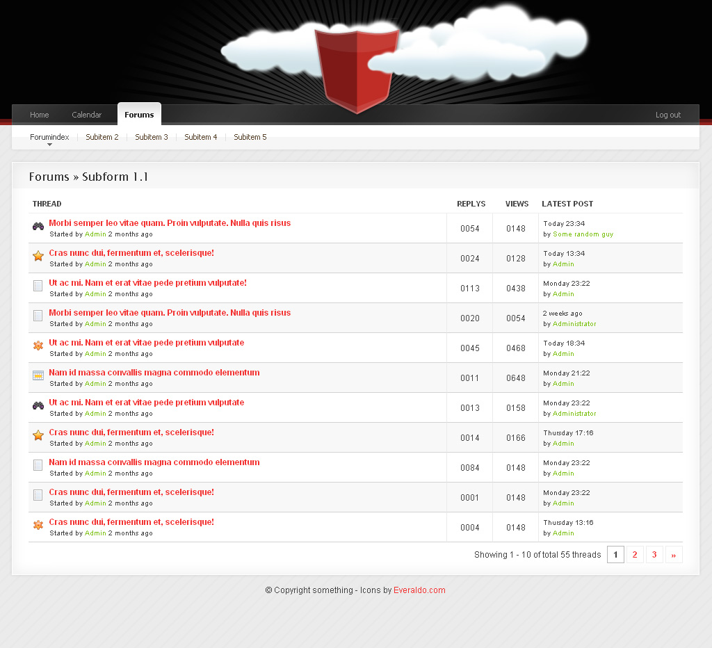 Community Templace Advanced - 7_Forums_Threads -------------------------------------------- List the chosen forums threads. Pagein design at the bottom.