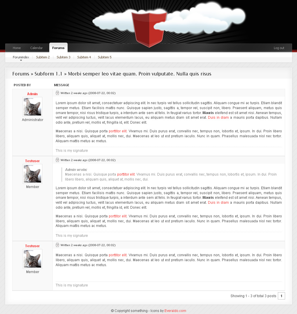 Community Templace Advanced - 8_Forums_Post -------------------------------------------- Shows userinformation to the left and the message to the right with date and time. Messagearea has designed blockquote and signature.