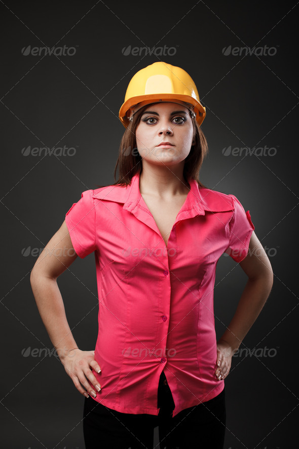Young engineer lady with hardhat - Stock Photo - Images