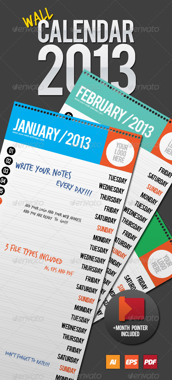 GraphicRiver Wall Calendar 2013 3465583