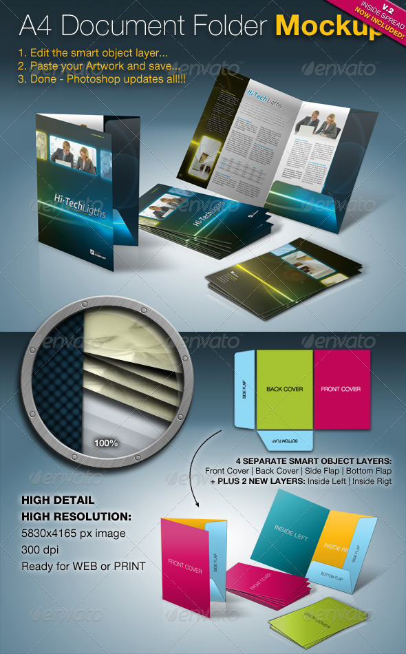 A4 Document Folder Mock-Up - Brochures Print