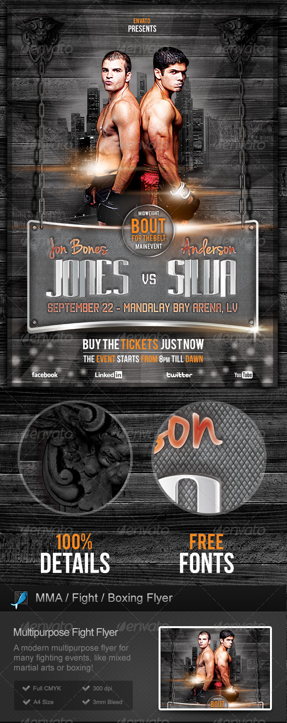 GraphicRiver Fight Flyer MMA Boxing Martial Arts 3037861