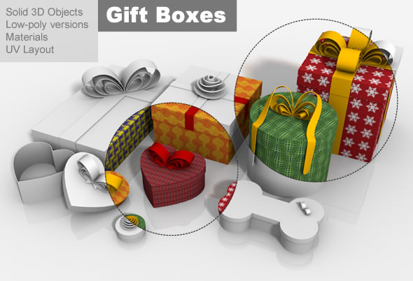 3DOcean Gift Boxes Multi Shape Packages 3467691