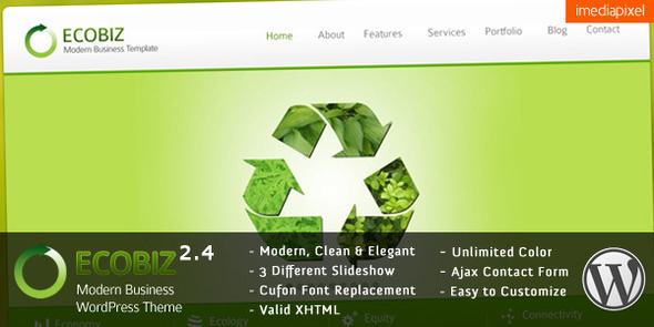 ThemeForest ECOBIZ Modern Business WordPress Theme 238701