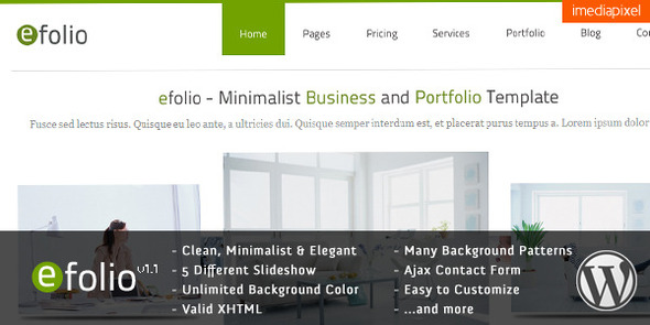 ThemeForest efolio Business and Portfolio Wordpress Theme 1161284