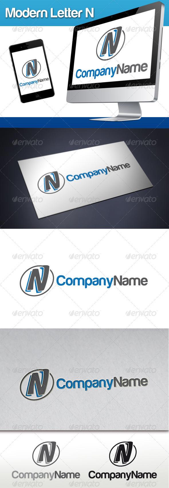 GraphicRiver Modern Letter N Logo 3429728