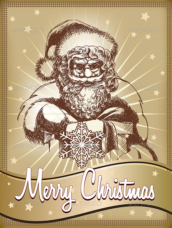 GraphicRiver Santa with Gift in Gold 3354241