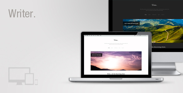 Writer Responsive Wordpress Theme - Writer is a super clean Premium WordPress Theme with oodles of features.  Writer comes packed with our brand new options panel 'Builder'. Builder makes it super simple to configure your site and get up and running as fast as possible!  Writer is suitable for absolutely any type of site, portfolio, showcase, creative, business, blog, this theme can do it all!  Features Include:      Future proof HTML5 / CSS3 responsive & adaptive design.     Reactive header.     Unique design.     Light & Dark skins.     Boxed & Stretched layouts.     Dual WP3 menus.     Cookie based notification bar.     Unlimited accent color.     Automatic black & white image option.     Every single Google font with live previewer.     Builder options panel with upgrade notifications.     Backward compatibility for older browsers.     Automatic CSS combine & minify.     Unlimited slides via custom post type.     Custom portfolio post type.     Homepage Builder.     Lightbox gallery.     Built-in ajax contact form with validation.     Automatic text links.     Automatic image sizing.     Social Integration.     Custom Post Formats.     Lots of built-in shortcodes and classes for easy styling.     Google analytics  plus tons more!  Workless  Writer is built around my popular CSS framework Workless. This means not only do you get all the usual WordPress goodies, you also inherit all the classes and helpers from Workless!  This will make your life much easier and get your site running as fast as possible.  Checkout the full Workless site & docs: workless.ikreativ.com