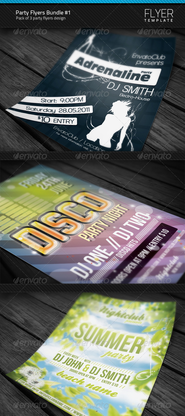 GraphicRiver Party Flyers Bundle #1 3469420
