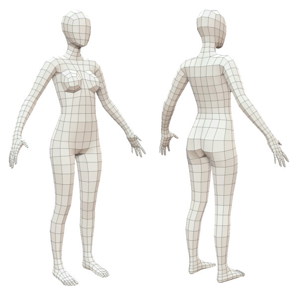 3DOcean Realistic Adult Female Base Mesh 3469432