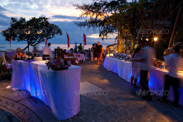 dinner on sunset - Stock Photo - Images