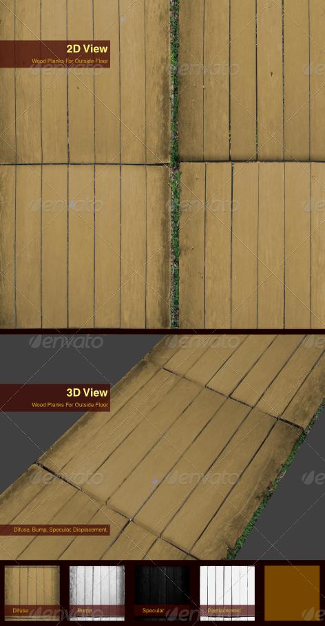Wood Planks For Outside Floor - 3DOcean Item for Sale