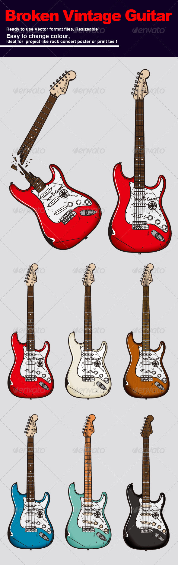 GraphicRiver Broken Vintage Guitar 3469897