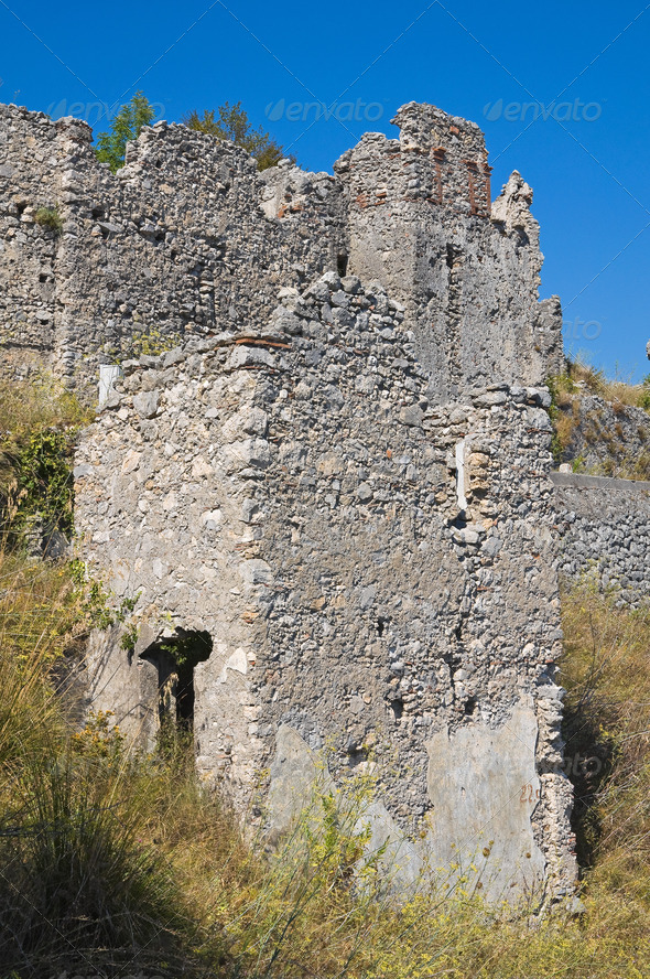 Ruins castle. Maratea. Basilicata. Italy. - Stock Photo - Images