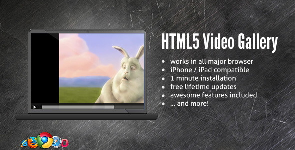 CodeCanyon HTML5 Blue Video Gallery 122632