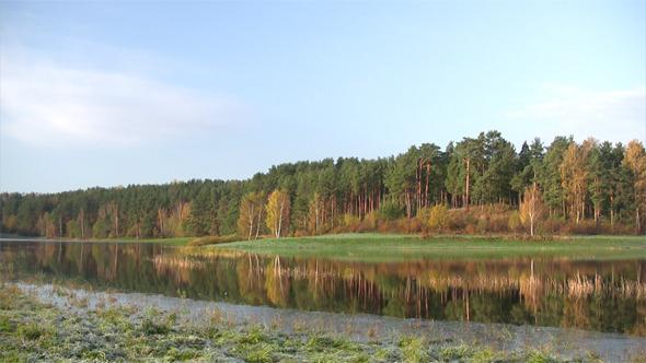 Morning Autumn River Scene