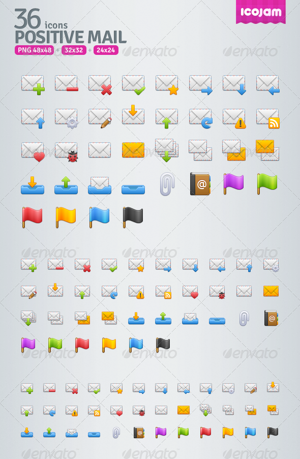GraphicRiver 36 Positive Mail Icons 3471039