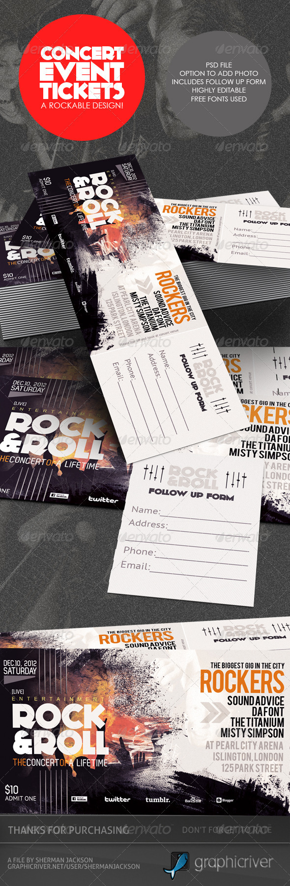 Event Ticket Designs Graphics Designs Templates