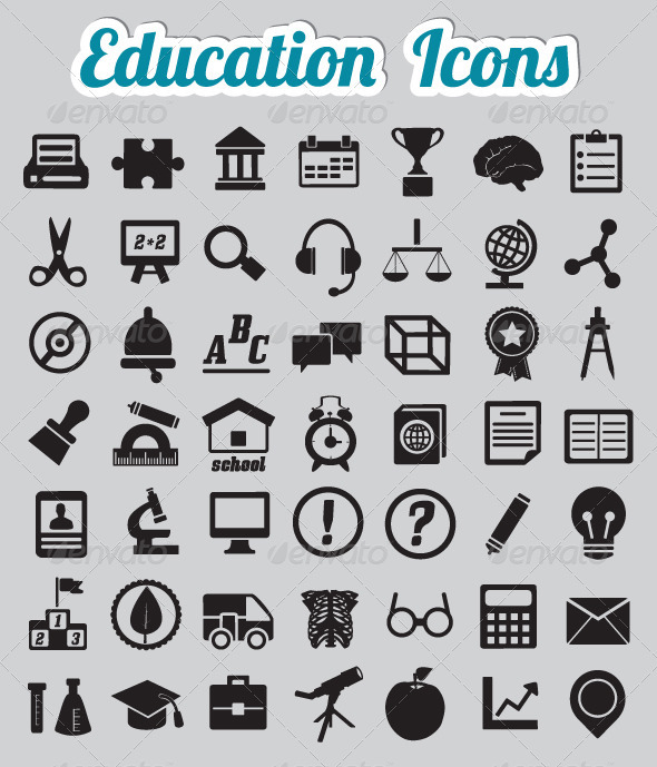 GraphicRiver Set of 50 Education Icons 3471232