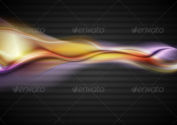 GraphicRiver Vector Glowing Waves on the Dark Background 3467205