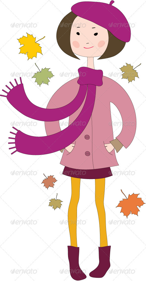 GraphicRiver Hand Drawn Little Girl in a Coat with Scarf 3471850