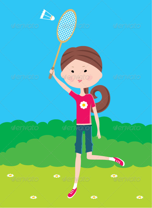 GraphicRiver Cartoon Girl Plays Badminton 3471873