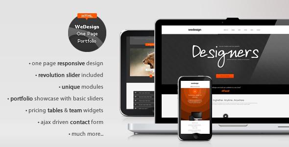 ThemeForest WeDesign One Page Responsive Portfolio 3471875