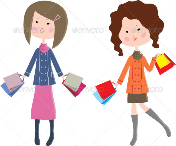 GraphicRiver Two Cartoon Women with Packages 3471878