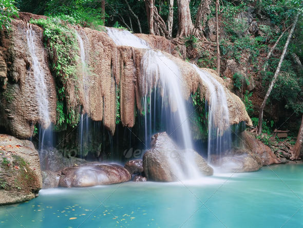 Deep forest waterfall - Stock Photo - Images