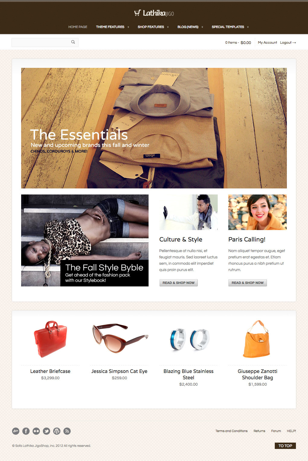 Lathika JigoShop - responsive e-Commerce theme - An example of home page layout...