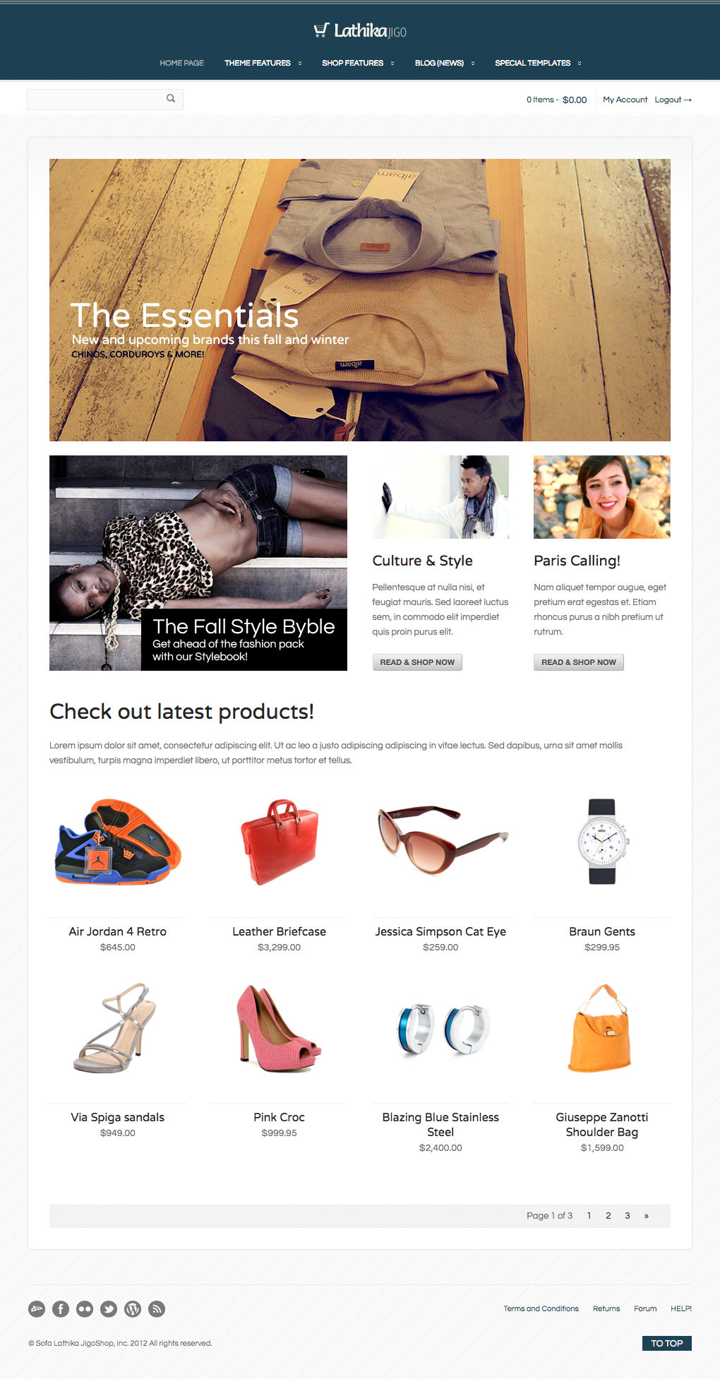 Lathika JigoShop - responsive e-Commerce theme - Another example of home page layout...
