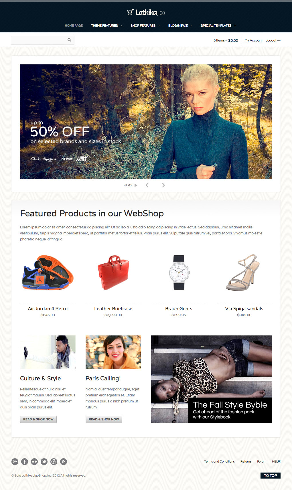 Lathika JigoShop - responsive e-Commerce theme - It's about your own creativity…another example of possible HP layout.