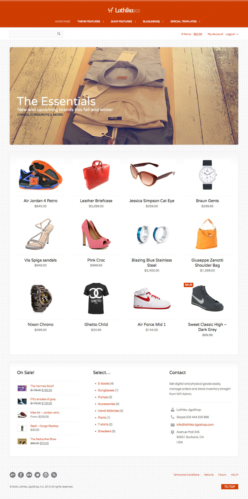Lathika JigoShop - responsive e-Commerce theme - A little bit more classic layout is possible as well...