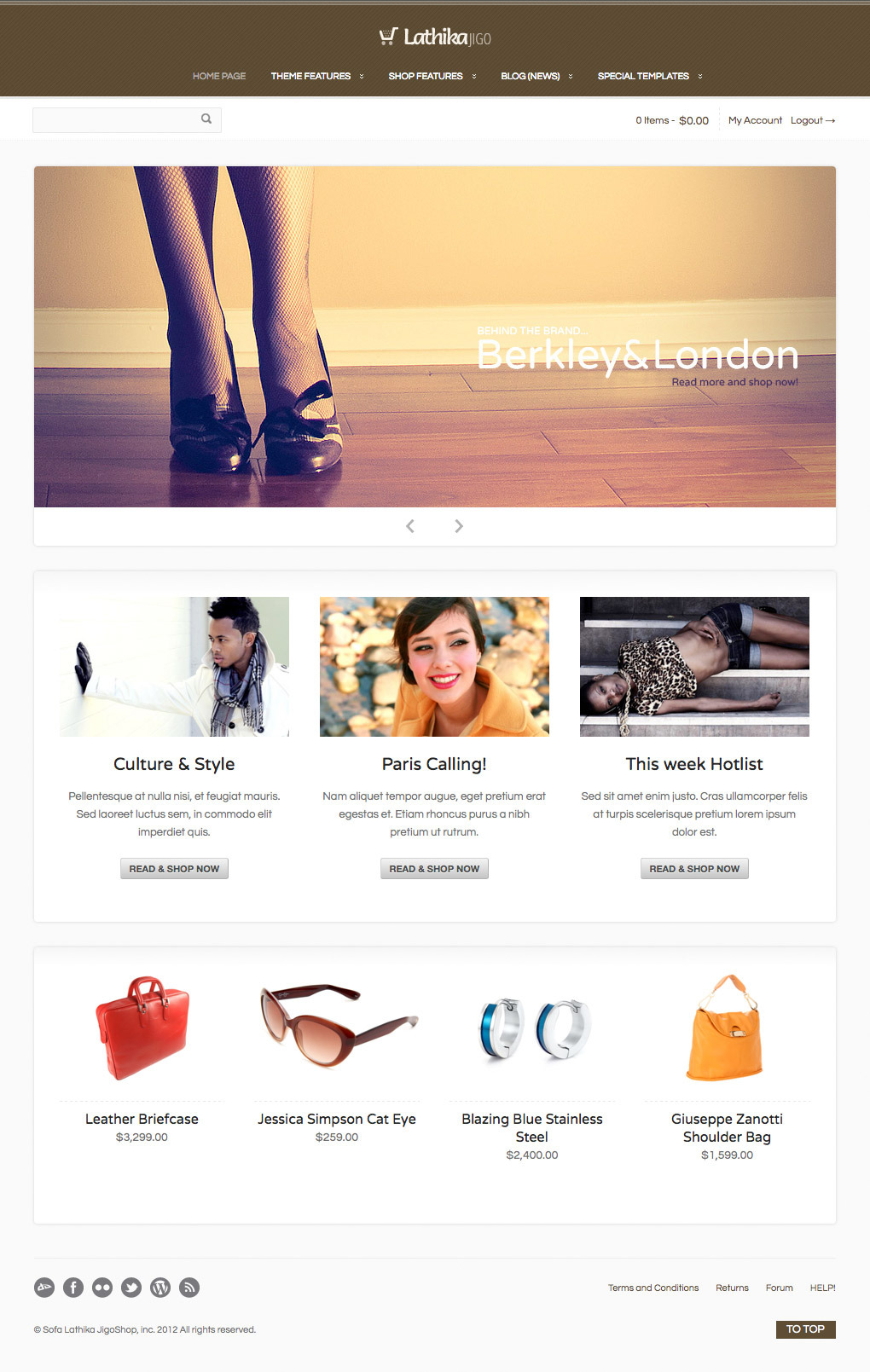 Lathika JigoShop - responsive e-Commerce theme - Another approach. You can use 1, 2, 3 or 4 columns text by using shortcodes.