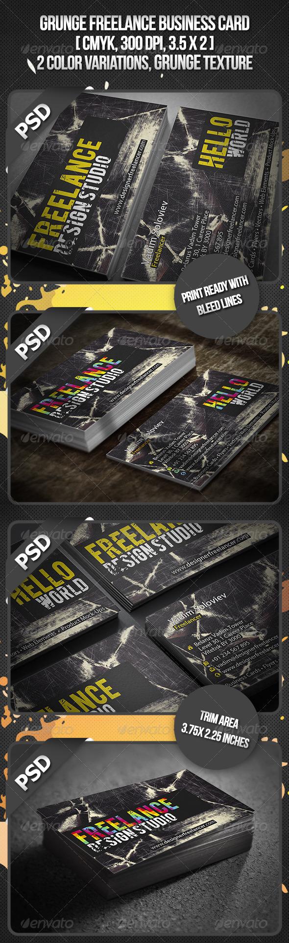 Grunge Freelance Business Card - Grunge Business Cards