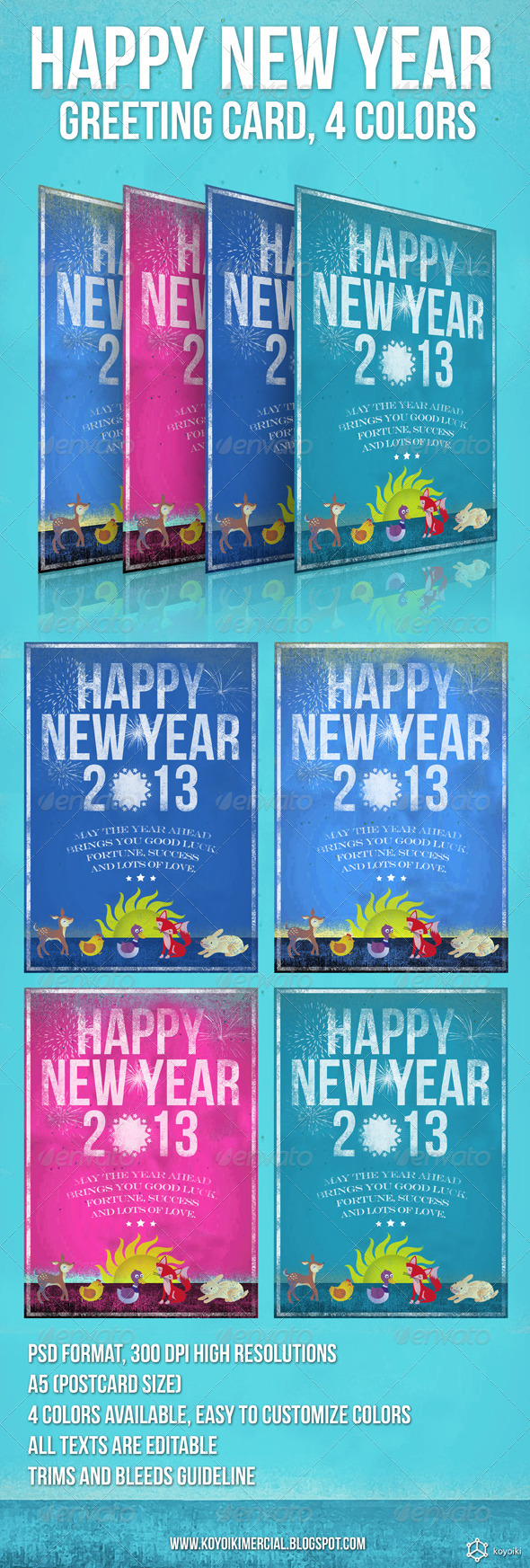 New Year Greeting Card - Holiday Greeting Cards