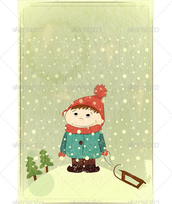 GraphicRiver Christmas Card Little Boy and Sled 3473341