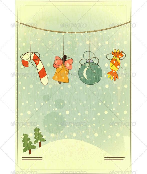 GraphicRiver Christmas Retro Postcard 3473387
