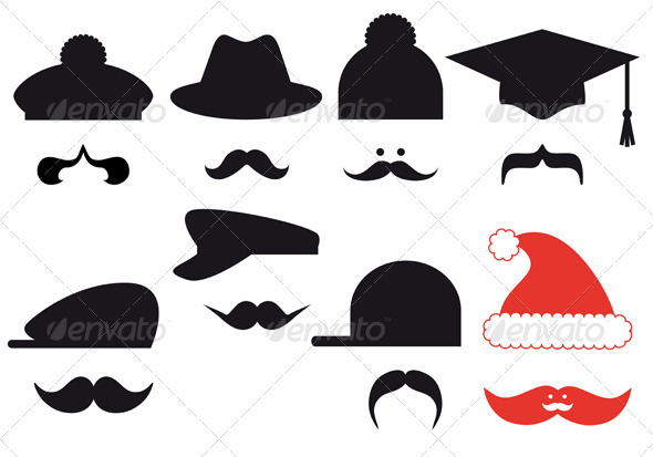 GraphicRiver Mustache Set With Hats Vector 3473410