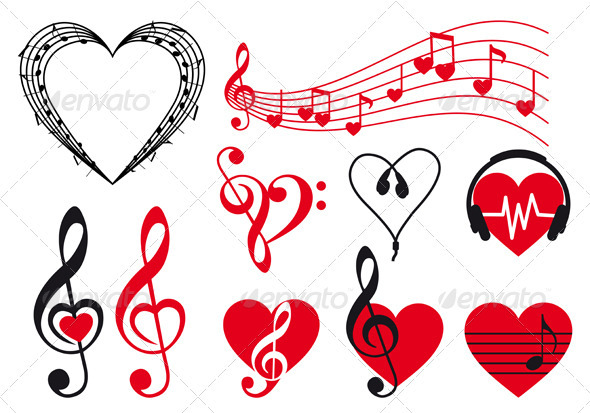 GraphicRiver Music Hearts Vector 3473453