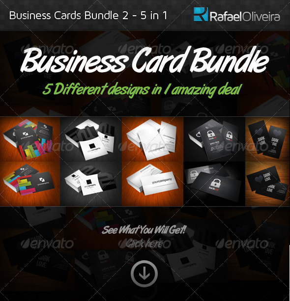 GraphicRiver Business Cards Bundle 2 5 in 1 350265