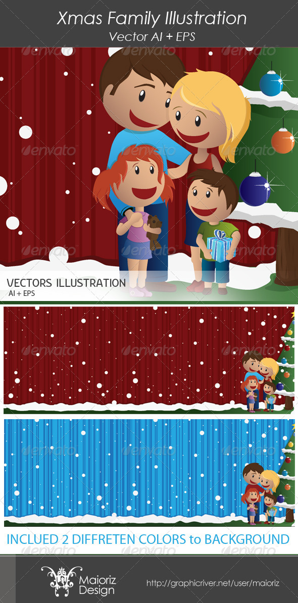 Xmas Family Illustration - People Characters