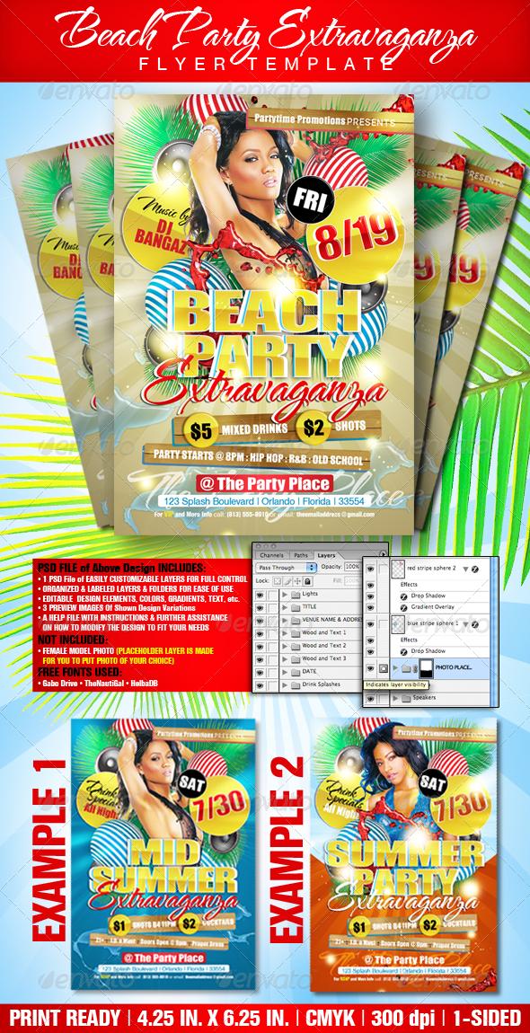 GraphicRiver Beach Party Extravaganza Flyer Template 372563