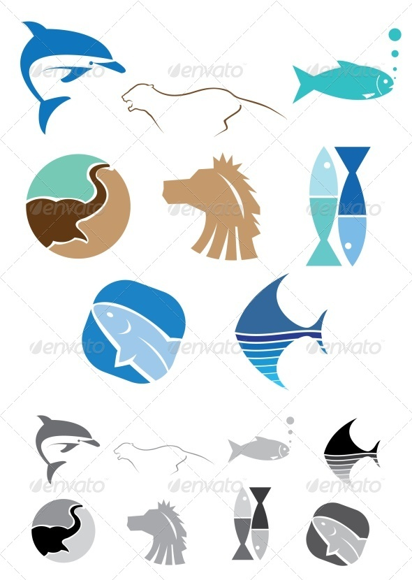 GraphicRiver Abstract Animals Icons 3474900