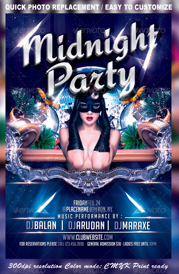 GraphicRiver Midnight Party FlyerTemplate 3454710