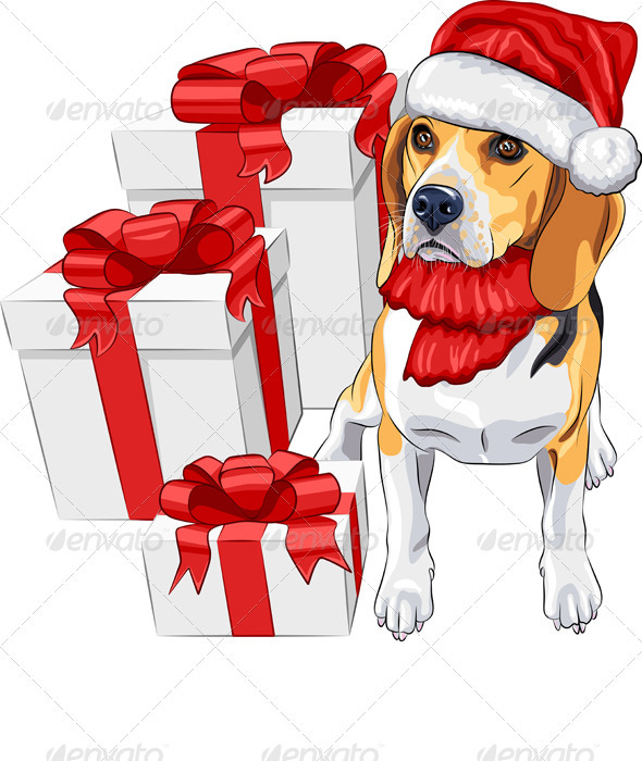 GraphicRiver Dog Beagle in Santa Claus Hat 3475143